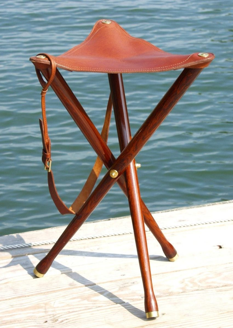 Folding Leather Camp Chairs Riveted